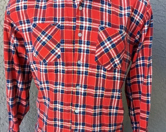 Flannel 1980s super soft vintage long sleeve button up shirt size extra large