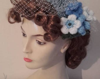 1950s hat, half hat, vintage style hat, ladies wedding hat, fascinator, 1940s hat, blue hat, mother of bride