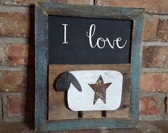 "Framed ""I Love Ewe"" sheep sign"