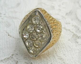 Men's Diamond-Shaped CZ Faux Diamond & Gold Ring, sz 7 1/2, vintage