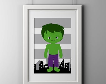 Hulk super hero wall art print, shipped to your door, high quality print 8x10 inch