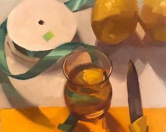 "Fine Art painting still life ""A Ribbon Runs Through"" 10x10"" original oil on canvas by Sarah Sedwick"