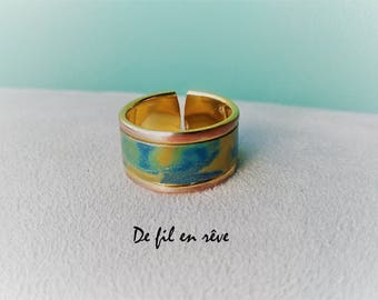 Ring with base in gilded brass decorated with polymer paste (BA1)