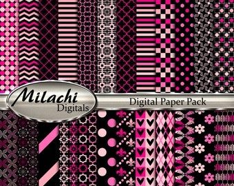 60% OFF SALE Black and pink digital paper pack, scrapbook papers, backgrounds - Commercial Use - Instant Download - M251