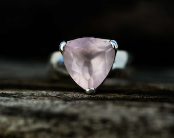 Rose Quartz Ring Size 5-9 -Rose Quartz Ring - Trillion Cut Rose Quartz Ring - Rose Quartz Ring - Sterling Silver Rose Quartz Ring 5 -9