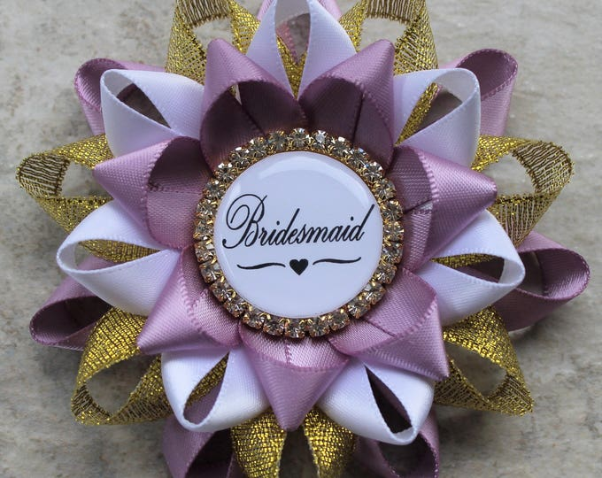 Bridesmaid Gift, Bridesmaid Pin, Bridal Shower Decorations, White, Thistle, Gold, Bridal Shower Corsages
