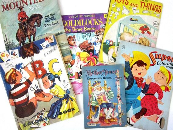 6 Vintage Coloring Books Mother Goose Goldilocks Paper Ephemera Kid's Books Northwest Mounted Police ABC Books