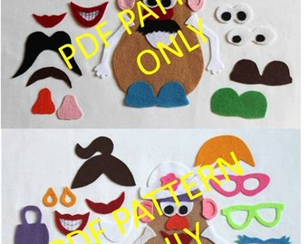 PATTERN ONLY - 2 Patterns - Mr. Potato Head and Mrs. Potato Head Felt Toy