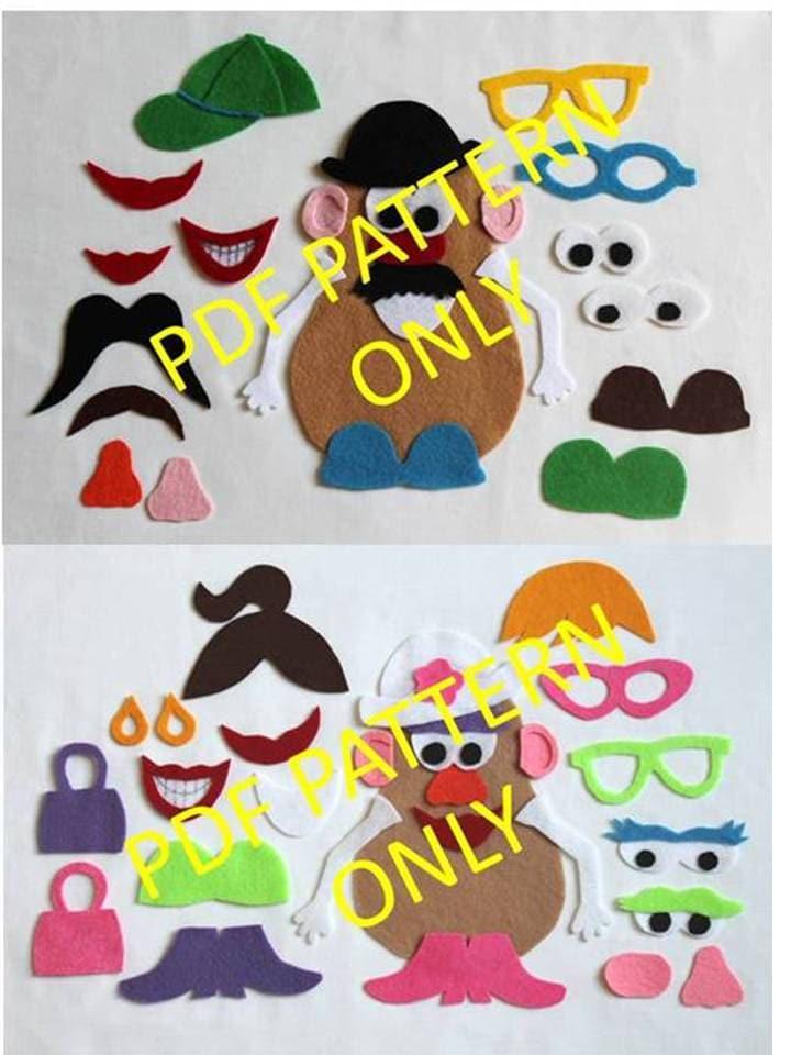 Pattern only 2 patterns mr potato head and mrs potato for Mr potato head felt template