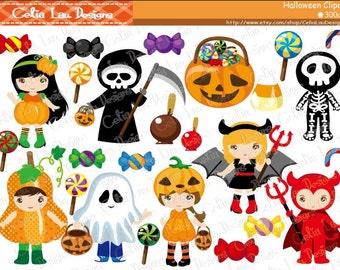 Halloween Clipart,TRICK OR TREAT Digital Clipart,  Trick or Treat Clipart / Instant Download (CG076)