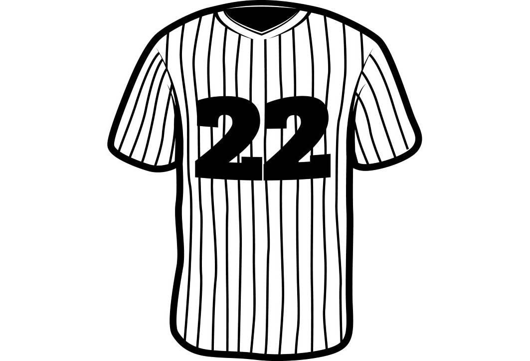 baseball jersey 1 uniform ball sports league equipment team rh etsy com blank baseball jersey clipart Baseball Jersey Outline