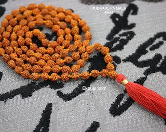 8mm Rudraksha Mala 108+1 Beads with long Red Tassel Hindu Yoga Meditation Rudraksha Mala