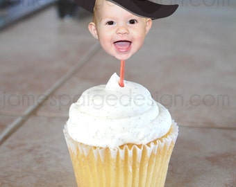Halloween Photo Cupcake Toppers (Witch's Hat Design) Digital File