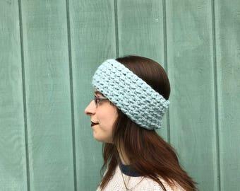 Ready to ship crochet baby blue headband, reversible crochet head warmer, crochet ear warmer, headband woman, crochet chunky headband