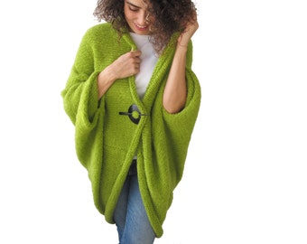 Cyber Week Sale - Black Friday - Cyber Monday / May Green Plus Size Oversize Overcoat Poncho Pelerine Cardigan