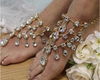 Barefoot sandals, GOLD rhinestone, wedding foot jewelry, footless sandles, diamond, anklets, diamante, feet jewelry, bridal, bridal jewels