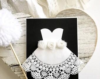 Wedding Card - Wedding Shower Card - Bridal Shower- Bride and Groom - Black and White Wedding- Handmade Cards - Wedding Card for Daughter