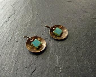Boho earrings, brass earrings, domed brass earrings with beads, turquoise dangle earrings, hammered earrings, gift for her, nickel-free