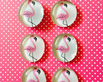 Flamingo glass pebble magnets, glass magnets, flamingo, refrigerator magnets, cute gift, party favor, magnet set, cheap decor