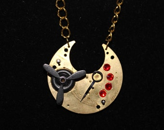 Steampunk Necklace  Propeller and Red Jewels  SP 18-4