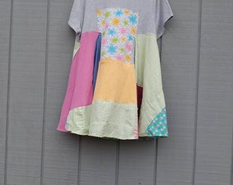 Patchwork tunic,tshirt,dress,pastel,summer tunic,upcycled tunic,repurposed clothing,artsy clothing,eco friendly clothing,upcycled clothing