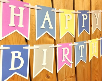 custom pastel happy birthday banner, banner, birthday banner, happy birthday banner, girl birthday, girl birthday banner, first birthday