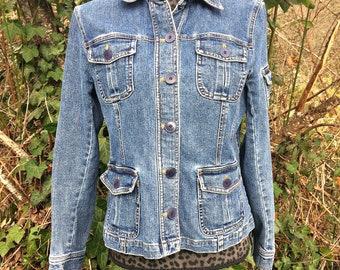 Blue Denim Women's Jean Jacket / Women's Denim Jacket / Blue Jean Jacket / Women's Grunge Jean Jacket / Denim Rocker Jean Jacket - Size Med