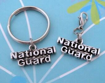 National Guard Keyring, Dust Plug, Lanyard, Zipper Pull, or Clip-On Charm