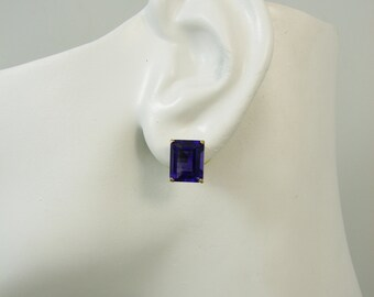 14K Gold Post Rectangle Blue Spinel Gemstone Earrings P14K10X8OCTBSP