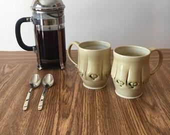 Brown Ceramic Mug. Stamped Porcelain Pottery. Handmade Ceramics. Wheel Thrown Pottery Mugs. Ceramic Handmade Mug. Glossy Pottery Mug Ceramic