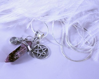 Necklace, Rhodonite Necklace, Rhodonite Crystal necklace on Silver 925 Snake Chain with Pentacle and Spiral Charms