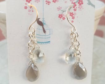 Moonstone and green amethyst earrings