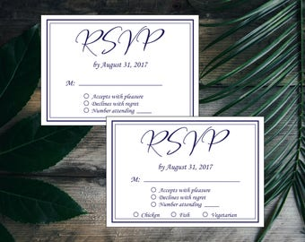 Navy Blue & White Modern Simple Elegant Wedding RSVP Template, Wedding Response Card Printable, DIY Instant Download, Editable Invitation