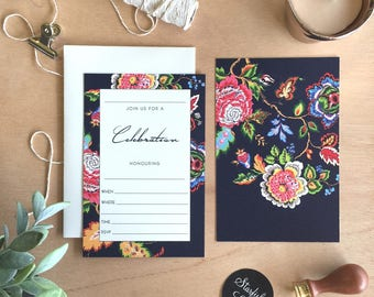 Fill In Invitation, Persian Blooms Celebration, Pack 10 including envelopes
