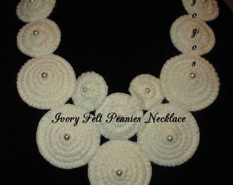 NECKLACE, IVORY FELT Pennies, Ladies Accessory, Handmade, Gifts for Women, Hostess Gift, Unique Gift, Stocking Stuffer, Vintage Style, BoHo