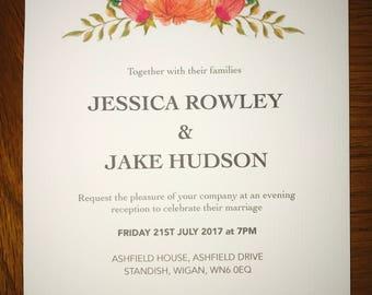 Watercolor floral wedding invite