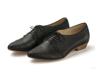 Black handmade oxford shoes / Polly Jean flat leather shoes by Tamar Shalem