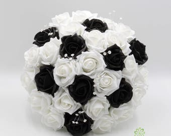 Black white bouquet etsy artificial wedding flowers black white rose brides bouquet posy 1 mightylinksfo