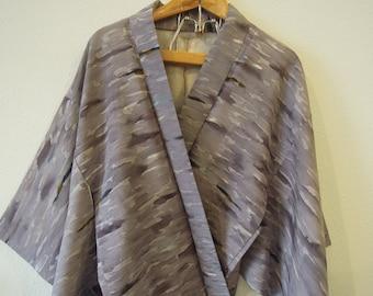 SUPER SALE Vtg Authentic Japanese Lavender Watercolor Print Kimono Robe Jacket Coat