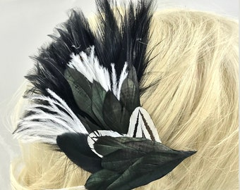 Elegant Black and White Feather Hair Clips,Feather Fascinators, Black And White Feather Accessories,Feather Barrettes,Boho Clips