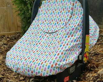 Spring/Summer Baby Carseat Cover - Infant Carseat Cover - Solstice Line in Multi-Colored Popsicles