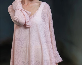 Kleid,  Boho Kleid, Spitzenkleid, Rosé, Sommerkleid, Hochzeitskleid, Oversize Kleid, Kleid nach Maaß, Kleider, Knie lang, Festival kleid