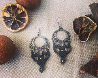 macrame earings, boho earings, brass earings, handmade earings, gypsy earings, tribal, hippie, gift for her, unique earings, bohemian