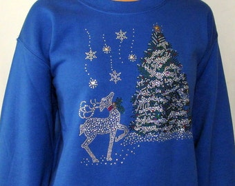 Rhinestone Reindeer Winter Scene Shirt Unique Custom Women's Cute Fun Hand painted Bling V-neck T shirt Cindy's Handmade Shirts Boutique