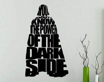 Darth Vader Wall Decal You Don't Know The Power Of Dark Side Star Wars Quote Vinyl Sticker Poster Kids Room Nursery Art Decor Mural 20sw
