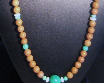 Australian Opal Bead & Australian Chrysoprase Bead Long Ribbon Necklace