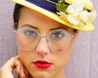 Vintage Eyeglass 1970s Oversize Disco Era Frames New Old Stock Glasses By Styl-Rite Made In Japan All Metal frames Baby Blue
