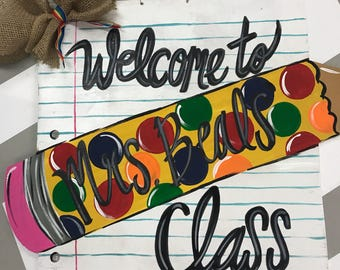 Notebook Paper and Pencil Wood Sign