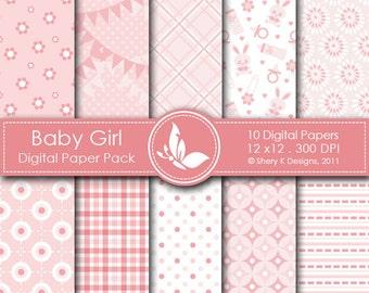 Baby Girl Paper Pack - 10 Printable Digital paper - 12 x12 - 300 DPI