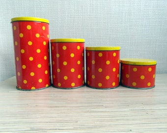 Vintage Soviet Red Polka Dot Tin boxes Tin containers Soviet Kitchen Decor Made in USSR Set of 4